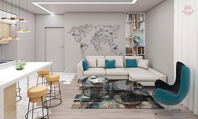 Harta lumii metalica pentru un apartament din Otopeni