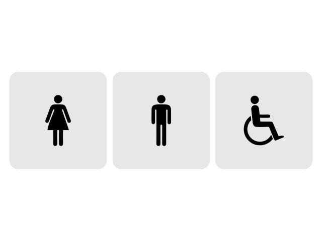 Set 3 placi semnalistica indicatoare toaleta gravate - cod SV01