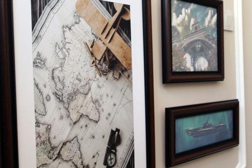 tablouri canvas cu rama de lemn maro
